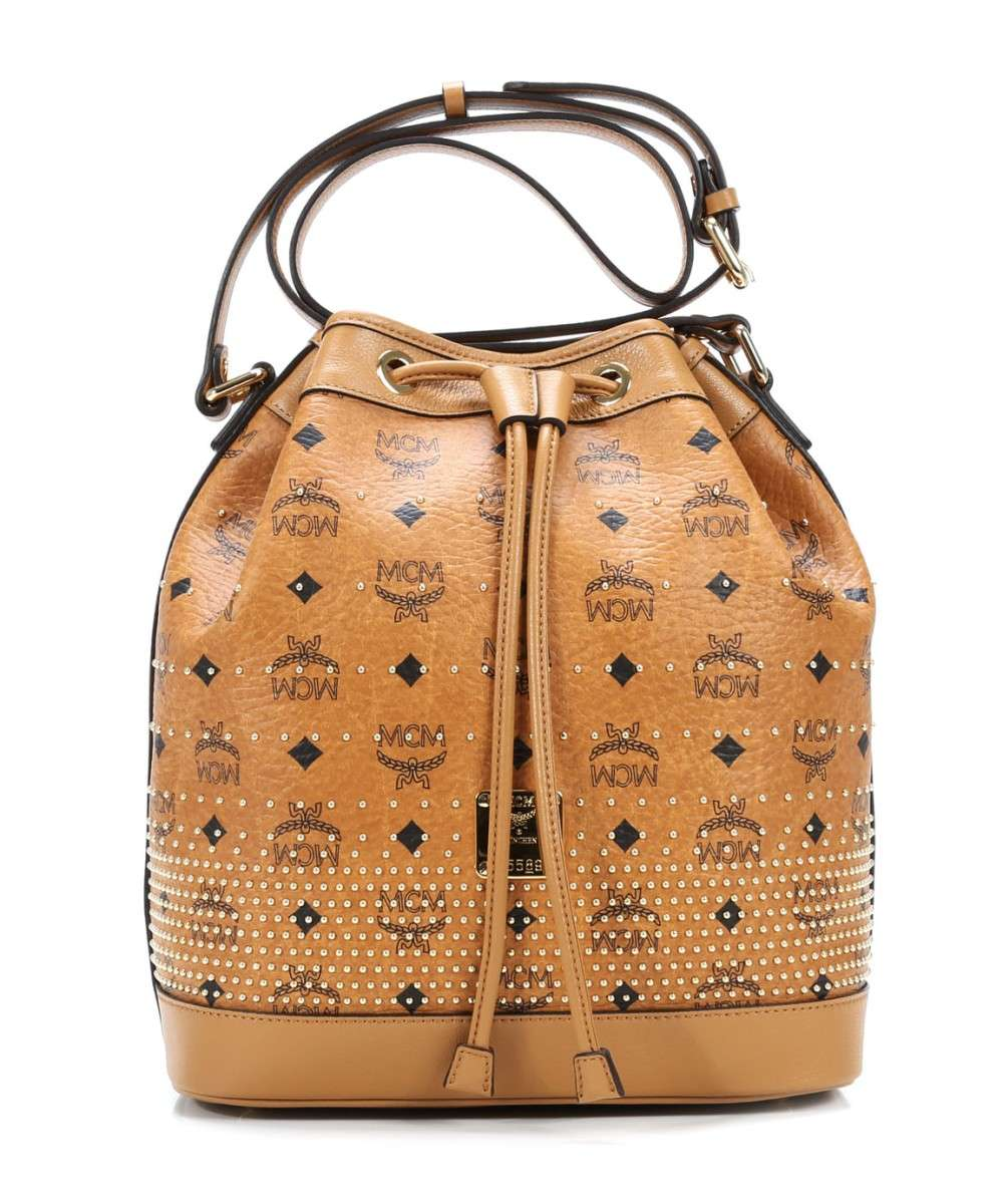 MCM Gold Visetos Hobo bag cognac Preview